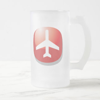 Airplane Red Easy Button Frosted Glass Beer Mug