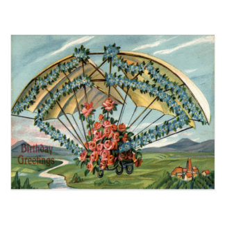 Airplane Rose Forget Me Not Birthday Card