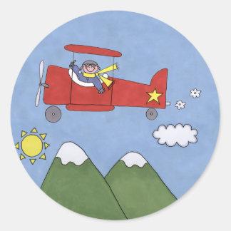 Airplane Round Stickers