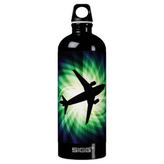 Airplane Silhouette; Cool Aluminum Water Bottle