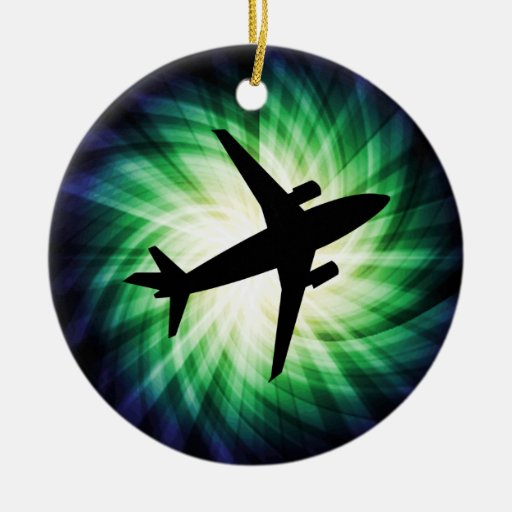 Airplane Silhouette; Cool Double-Sided Ceramic Round Christmas Ornament