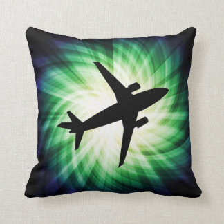Airplane Silhouette; Cool Throw Pillow