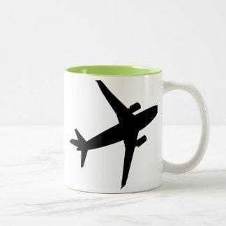 Airplane Silhouette; Cool Two-Tone Coffee Mug