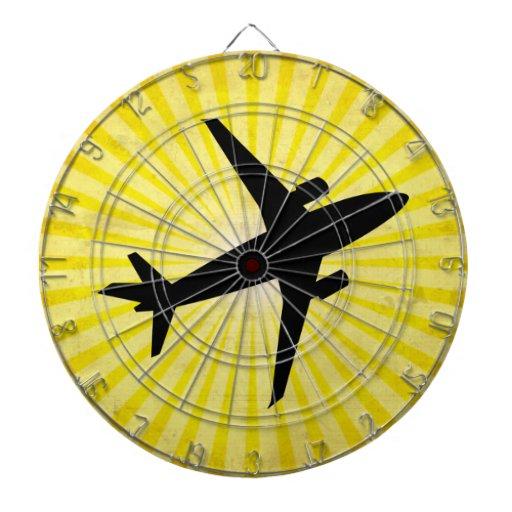 Airplane Silhouette; yellow Dartboards