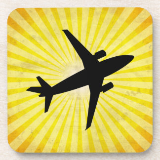 Airplane Silhouette; yellow Drink Coaster