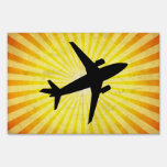 Airplane Silhouette; yellow Lawn Sign