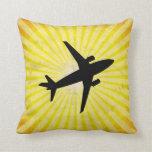 Airplane Silhouette; yellow Pillows