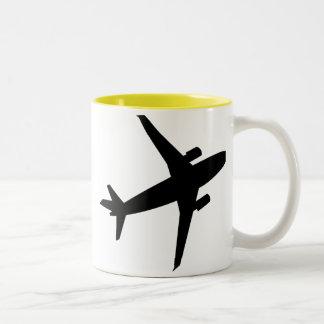 Airplane Silhouette; yellow Two-Tone Coffee Mug