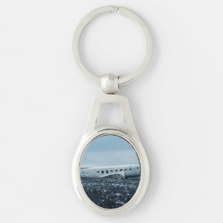 airplane Silver-Colored oval metal keychain