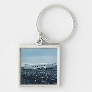 airplane Silver-Colored square keychain