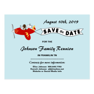 Airplane Sky Banner Family Reunion Save the Date Postcard
