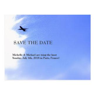 Airplane Sky Destination Save-the-Date Postcard