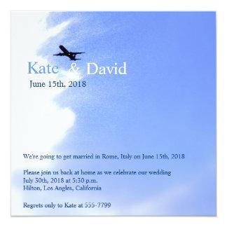 Airplane Sky Destination Wedding Custom Card