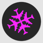 Airplane Snowflake Classic Round Sticker