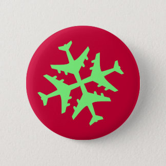 Airplane Snowflake Pinback Button
