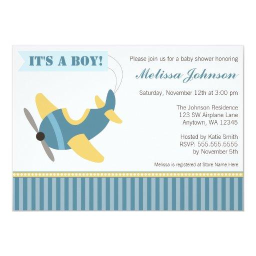 Airplane Stripes Boy Baby Shower Invitations | Zazzle