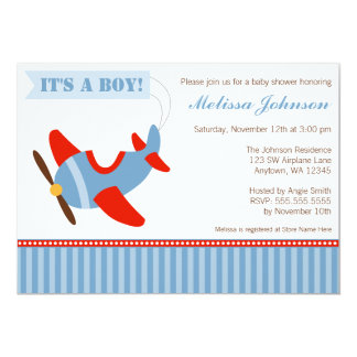 Airplane Stripes Red Blue Boy Baby Shower 5x7 Paper Invitation Card