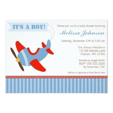 Toddler & Baby themed Airplane Stripes Red Blue Boy Baby Shower Card