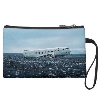 airplane suede wristlet wallet