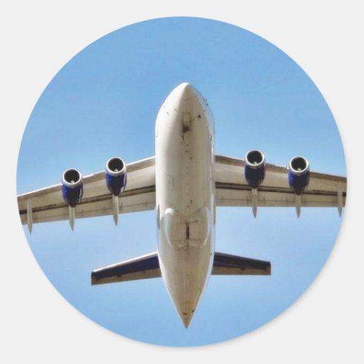 Airplane Takeoff High Round Sticker