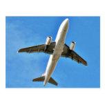 Airplane Takeoff On Blue Sky Postcard