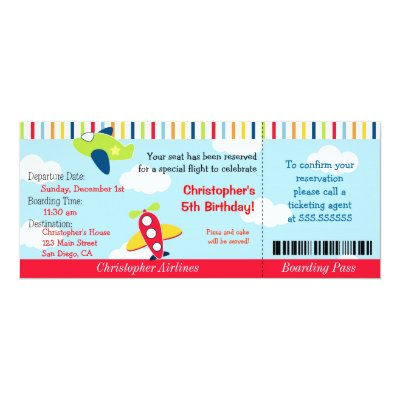 Kids Airline Ticket Birthday Party Invitation | Zazzle.com  Airline Ticket Invitation