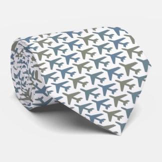 Airplane Tie Armani Grey on White