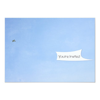Airplane Towing White Banner Card