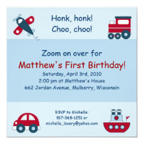 Airplane Train Car Boat Birthday Invitations