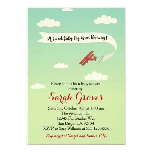 Airplane Transportation Baby Shower Invitaiton Card