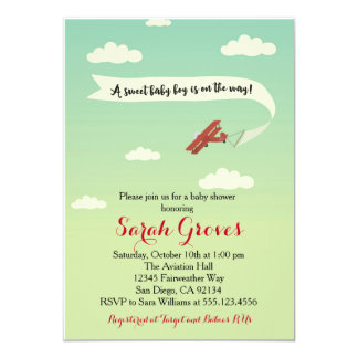 Airplane Transportation Baby Shower Invitaiton 5x7 Paper Invitation Card