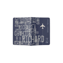 airplane travel name pattern blue/gray passport holder