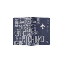 airplane travel name pattern blue/gray passport holder