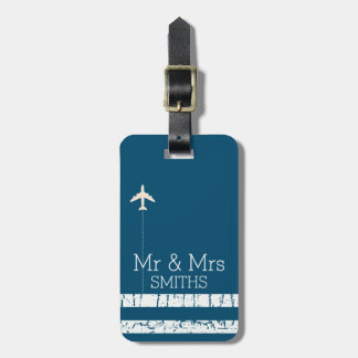airplane travel personalized Mr & Mrs Bag Tag