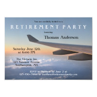 Airplane Travel Themed Retirement Party Invitation