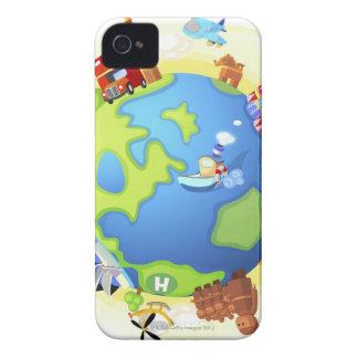 Airplane traveling various famous places of the iPhone 4 case