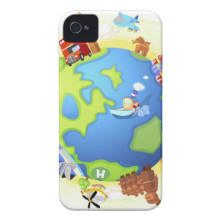 Airplane traveling various famous places of the Case-Mate iPhone 4 case