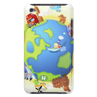 Airplane traveling various famous places of the iPod touch cover
