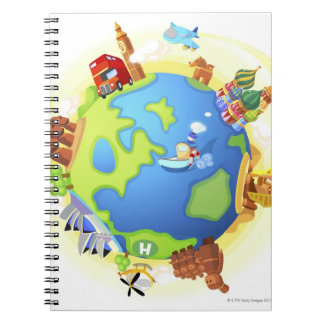 Airplane traveling various famous places of the spiral notebook