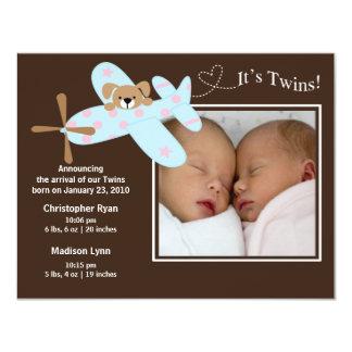 Airplane Twins Girl & Boy Birth Annoucement Card