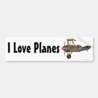 """Airplane Vintage Biplane, I Love Planes… Bumper S Bumper Sticker"