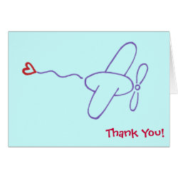Airplane with Heart Thank You Note Cards