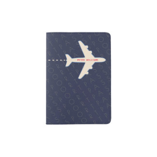 airplane with name, american document, travel passport holder