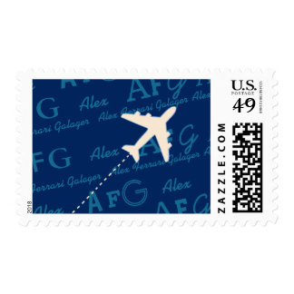 airplane with names postage stamp