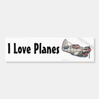 """""""Airplane WW2 Fighter Plane, I Love Planes… Bumper Bumper Stickers"""
