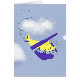 Airplane Yellow and Blue Cartoon Art Card