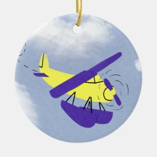 Airplane Yellow and Blue Cartoon Art Ceramic Ornament