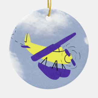 Airplane Yellow and Blue Cartoon Art Double-Sided Ceramic Round Christmas Ornament