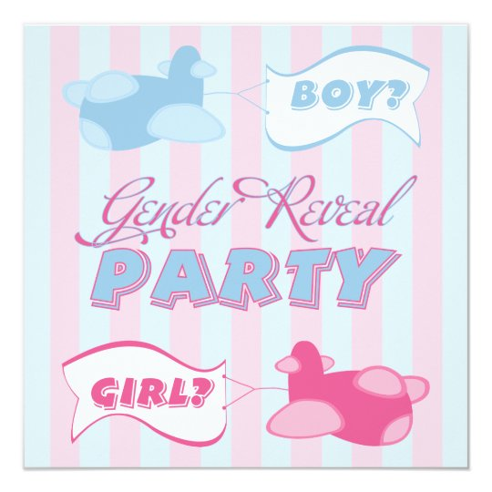 Airplanes and Banners Gender Reveal Party Card