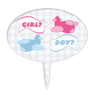 Airplanes and Banners Gingham Gender Reveal Party Cake Topper